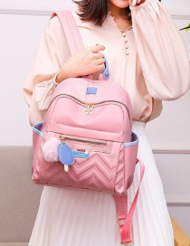 Fashion Pink Stitched Contrast Rhombic Fur Ball Backpack