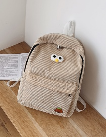 Fashion Khaki Canvas Embroidered Big Eyes Cute Backpack