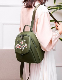 Fashion Green Plum Embroidered Waterproof Nylon Backpack