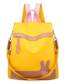 Fashion Yellow Anti-theft Waterproof And Wear-resistant Rabbit Ears Contrast Color Backpack