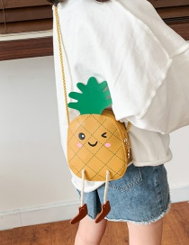 Fashion Yellow Expression Pineapple Contrast Color Children Messenger Bag