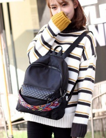Fashion Black Waterproof Nylon Rhombus Contrast Color Backpack