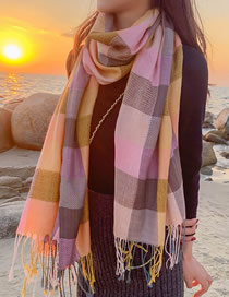 Fashion Snow Powder Multicolored Plaid Fringe Stitching Contrast Scarf