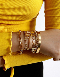Fashion Golden Glossy Geometric Cutout Multi-element Bracelet