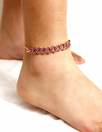 Fashion Pink Full Diamond Adjustable Bare Feet Naked Chain