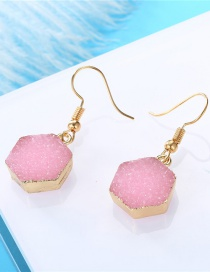 Fashion Pink Hexagon-shaped Resin Alloy Earrings