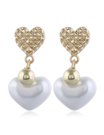 Fashion White Love Irregular Concave Pearl Earrings