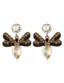 Fashion Yellow Butterfly Earrings With Glass Diamonds