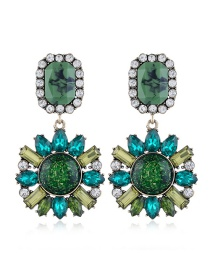 Fashion Green Geometric Round Earrings With Glass And Diamond Alloy