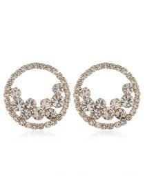 Fashion White Alloy Diamond Circle Pierced Earrings