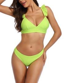 Fashion Yellow Ruffled V-neck Panel Split Swimsuit