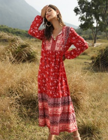 Fashion Red Lace Up Printed Long Sleeve Paneled Loose Dress