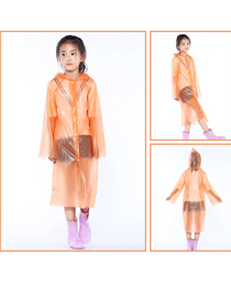 Fashion Orange Peva Button Hood Thickened Disposable Raincoat For Children