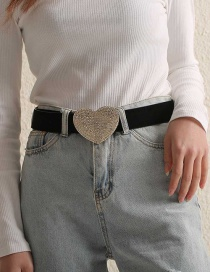 Fashion Love Suede Heart-shaped Alloy Belt With Diamonds
