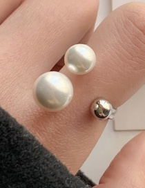 Fashion Silver Pearl Open Alloy Hollow Ring