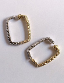 Fashion Square Golden Gold And Silver Colorblock Geometric Check Earrings