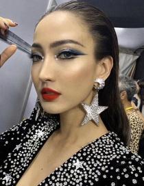 Fashion Silver Full Diamond Pentagram Moon Alloy Earrings