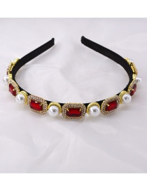 Fashion Red Crystal-pearl Alloy Thin-edged Hair Band