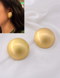 Fashion Golden Distressed Button Domed Alloy Earrings