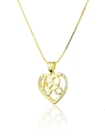 Fashion Gold-plated Heart-shaped Copper Micro Inlaid Zircon Digital Skeleton Necklace