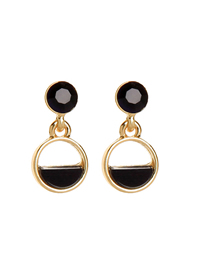 Fashion Black Geometric Semicircle Hollow Alloy Earrings