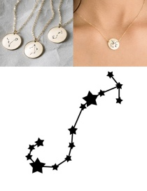 Fashion Golden-scorpio (13mm) Stainless Steel Geometric Round Engraved Constellation Necklace