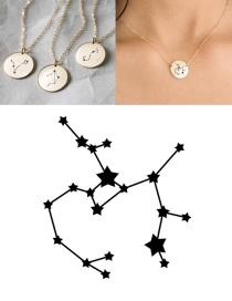 Fashion Golden-sagittarius (13mm) Stainless Steel Geometric Round Engraved Constellation Necklace