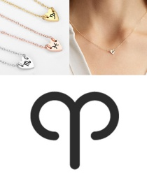 Fashion Golden-aries (7mm) Love Carved Constellation Stainless Steel Clavicle Chain
