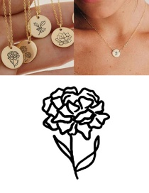 Fashion Rose Gold-january (9mm) Engraved Plant Flower Stainless Steel Geometric Round Necklace