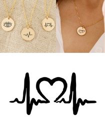 Fashion Golden Engraved Ecg Stainless Steel Couple Necklace 15mm