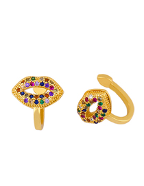 Fashion Golden Micro-set Color Zircon Mouth Hollow Pierced Ear Clips