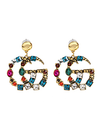 Fashion Color Mixing C-shaped Diamond Alloy Pierced Earrings