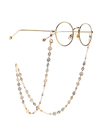 Fashion Golden Pearl Hollow Rose Handmade Glasses Glasses Chain