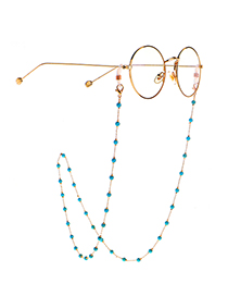 Fashion Golden Natural Round Turquoise Handmade Glasses Chain