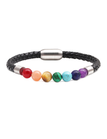 Fashion Color Leather Rope Woven Stainless Steel Magnetic Button Energy Stone Chakra Men's Bracelet 18cm