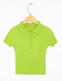 Fashion Green Lapel Knit T-shirt