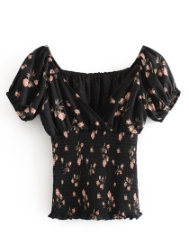 Fashion Photo Color Floral Print V-neck Elasticated Waist Shirt