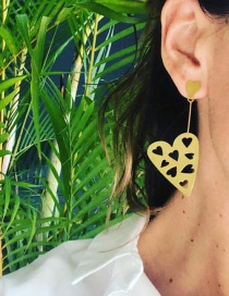 Fashion Hollow Gold Alloy Heart Earrings
