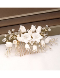 Fashion White Crystal Flower Comb