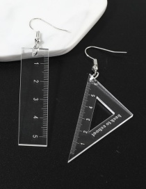 Fashion Transparent White Triangle Ruler Earrings