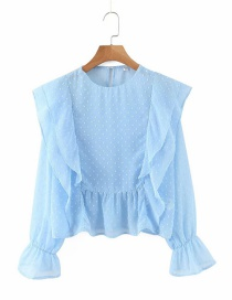 Fashion Blue Polka-dot Patch Ruffle Shirt