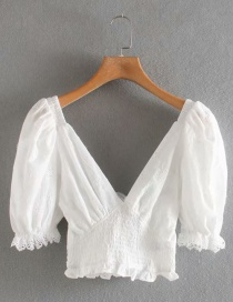 Fashion White Lace-paneled Embroidered Lace V-neck Cotton Shirt