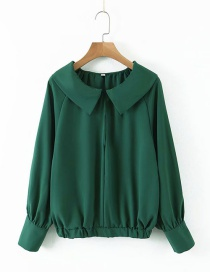 Fashion Dark Green Lapel Elastic Waist Shirt