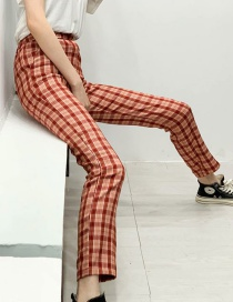 Fashion Orange High-waist Checked Printed Elasticated Pants