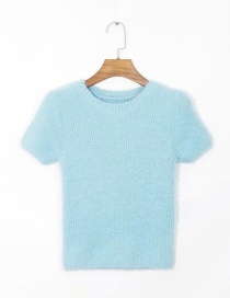 Fashion Blue Furry Stitch Knitted Sweater