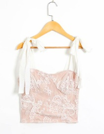 Fashion Pink Lace Panel Sling Lace Up Vest