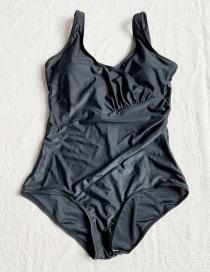Fashion Black Ruffled One Piece Swimsuit