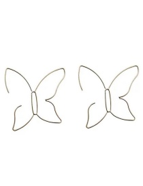 Fashion Golden Line Butterfly Geometric Stud Earrings