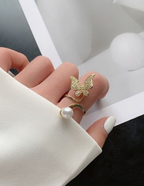 Fashion Butterfly-pearl Gold Butterfly Ring