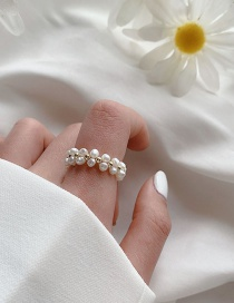 Fashion White B Natural Freshwater Pearl Stretch Woven Ring